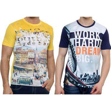 Combo of 2 Okane Half Sleeves T Shirts_Ts-45356n59y - Navy & Yellow