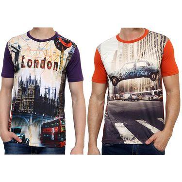 Combo of 2 Okane Half Sleeves T Shirts_Ts45358p52o - Purple & Orange