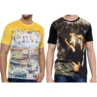 Combo of 2 Okane Half Sleeves T Shirts_Ts45359y54b - Yellow & Black