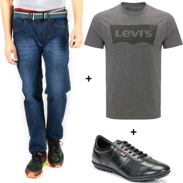 Combo of Levis (Blue) Denim, T Shirt (Grey) and Shoe (Black)