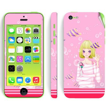 Snooky 39060 Digital Print Mobile Skin Sticker For Apple Iphone 5C - Pink
