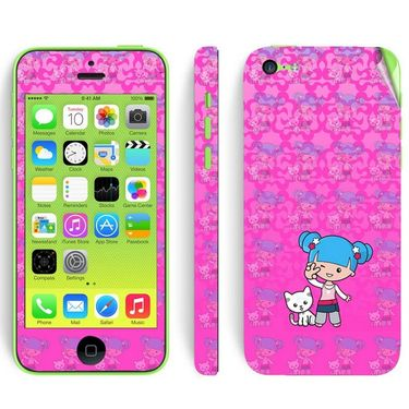 Snooky 39063 Digital Print Mobile Skin Sticker For Apple Iphone 5C - Pink