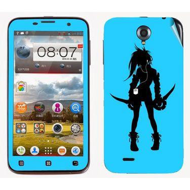 Snooky 39094 Digital Print Mobile Skin Sticker For Lenovo A850 - Blue