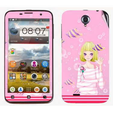 Snooky 39096 Digital Print Mobile Skin Sticker For Lenovo A850 - Pink