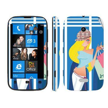 Snooky 39227 Digital Print Mobile Skin Sticker For Nokia Lumia 510 - Blue