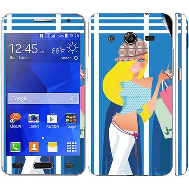 Snooky 39443 Digital Print Mobile Skin Sticker For Samsung Galaxy Core 2 G355h - Blue