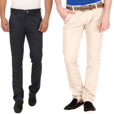 Pack of 2 Blimey Slim Fit Cotton Chinos_Bf23 - Beige & Blue