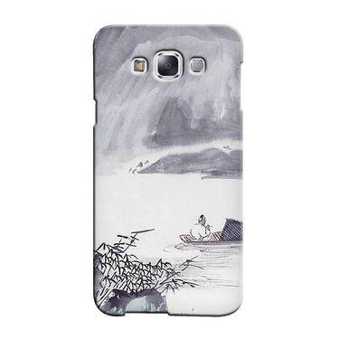 Snooky 36465 Digital Print Hard Back Case Cover For Samsung Galaxy E7 - Grey