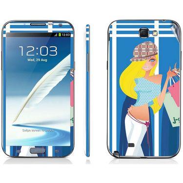 Snooky 39467 Digital Print Mobile Skin Sticker For Samsung Galaxy Note 2 N7100 - Blue