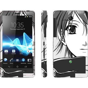 Snooky 39710 Digital Print Mobile Skin Sticker For Sony Xperia T Lt30p - Grey