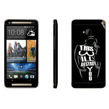 Snooky 41479 Digital Print Mobile Skin Sticker For HTC One M7 - Black