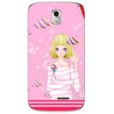 Snooky 41634 Digital Print Mobile Skin Sticker For Lava Iris 402 Plus - Pink