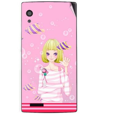 Snooky 41706 Digital Print Mobile Skin Sticker For Lava Iris Fuel 60 - Pink