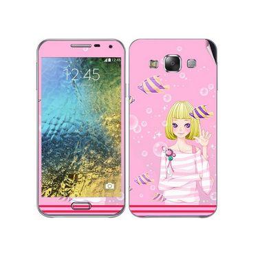 Snooky 41872 Digital Print Mobile Skin Sticker For Samsung Galaxy E7 - Pink