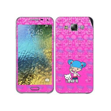 Snooky 41879 Digital Print Mobile Skin Sticker For Samsung Galaxy E7 - Pink