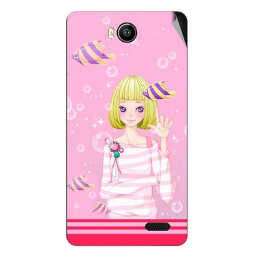 Snooky 41905 Digital Print Mobile Skin Sticker For Intex Aqua 4.5e - Pink