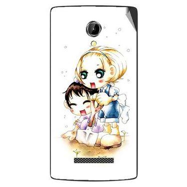 Snooky 42090 Digital Print Mobile Skin Sticker For Intex Aqua N8 - White