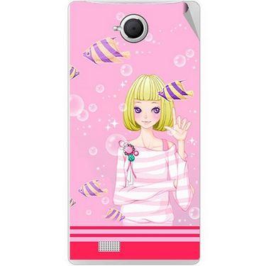 Snooky 42092 Digital Print Mobile Skin Sticker For Intex Aqua N17 - Pink