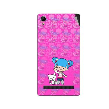 Snooky 42121 Digital Print Mobile Skin Sticker For Intex Aqua Power Plus - Pink