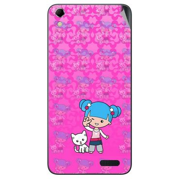 Snooky 42143 Digital Print Mobile Skin Sticker For Intex Aqua Q3 - Pink