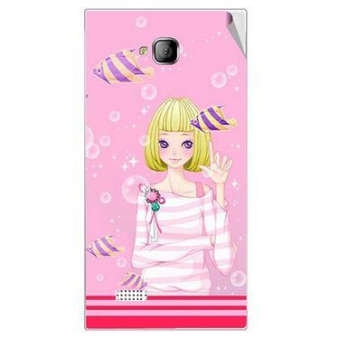 Snooky 42257 Digital Print Mobile Skin Sticker For Intex Aqua Y2 - Pink