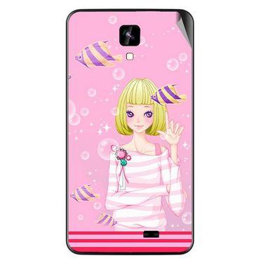 Snooky 42268 Digital Print Mobile Skin Sticker For Intex Aqua Y2 IPS - Pink