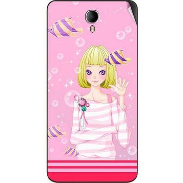 Snooky 42345 Digital Print Mobile Skin Sticker For Intex Cloud M6 - Pink