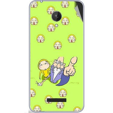 Snooky 47090 Digital Print Mobile Skin Sticker For Micromax Canvas Spark Q380 - Green