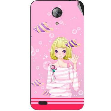Snooky 42400 Digital Print Mobile Skin Sticker For Intex Aqua Style Mini - Pink