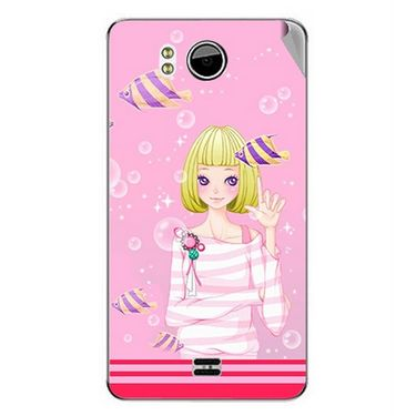 Snooky 42631 Digital Print Mobile Skin Sticker For Micromax Canvas DOODLE A111 - Pink