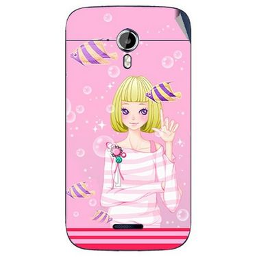 Snooky 42653 Digital Print Mobile Skin Sticker For Micromax Canvas Magnus A117 - Pink