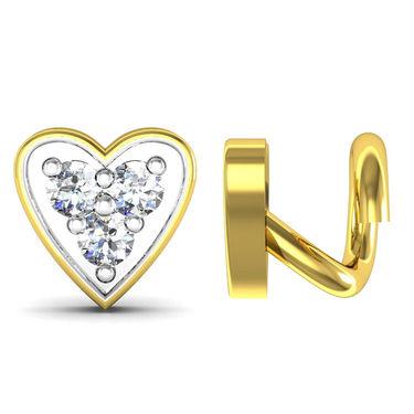 AG Real Diamond Pranali Nose Pin_Agsno015y - Yellow