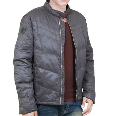 Branded Leather Quilted  Jacket_Os09 - Dark Grey