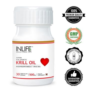 INLIFE Krill Oil 500 mg Omega 3 Essential Fatty Acid With EPA DHA, 30 Capsules
