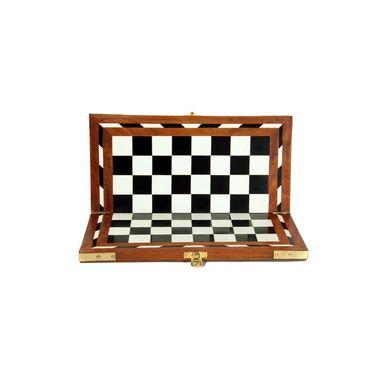 AVM 14inch Acrylic Folding Chess Board (1.25 inch Border, White Black Brown)
