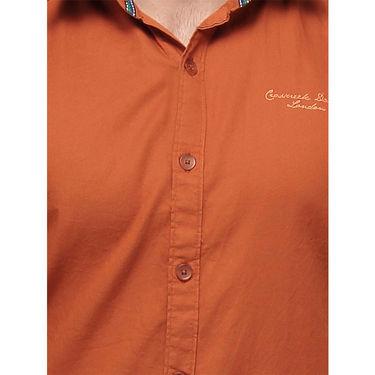 Crosscreek Full Sleeves Cotton Casual Shirt_1180307F - Orange