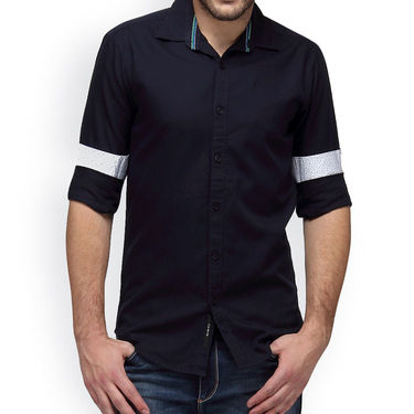 Crosscreek Full Sleeves Cotton Casual Shirt_1180309F - Navy