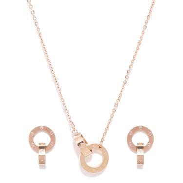 Swiss Design Swaroski Pendant Set_Sdjs08 - Rose Gold