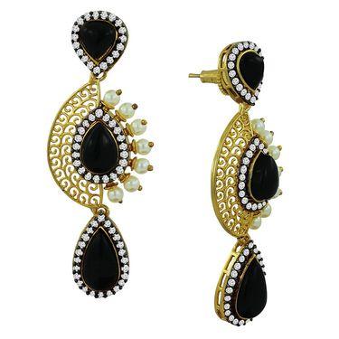 Spargz Dangler Gold Filligree Earring_Aier092 - White