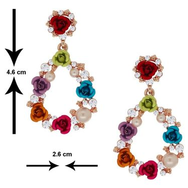 Spargz Rose Earring With Pearl & AD Stone_Aier235 - Multicolor