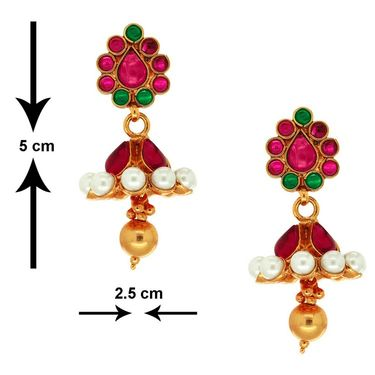Spargz Ethnic Earring Studded With Pearl_Aier294 - Multicolor