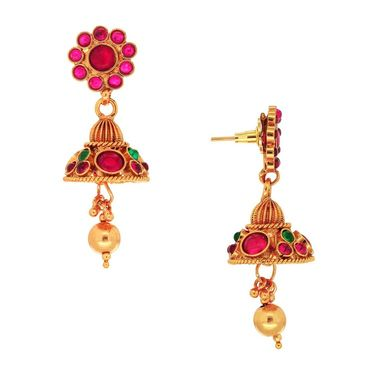 Spargz Designer Earring Made in Gold Finish_Aier298 - Red & Green