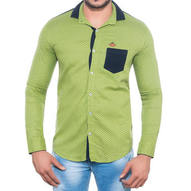 Brohood Slim Fit Full Sleeve Cotton Shirt For Men_A5066 - Green