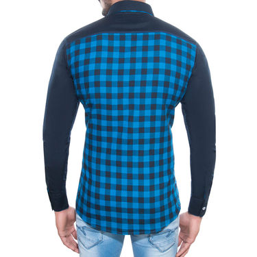 Brohood Slim Fit Full Sleeve Cotton Shirt For Men_M3008 - Blue