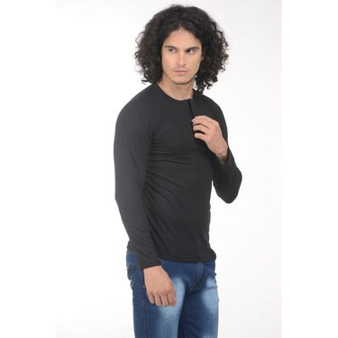 Plain Comfort Fit Blended Cotton TShirt_Htvrbk - Black