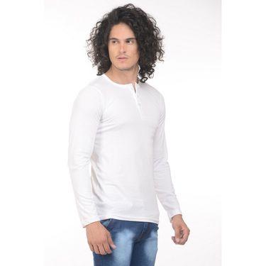 Plain Comfort Fit Blended Cotton TShirt_Htvrw - White