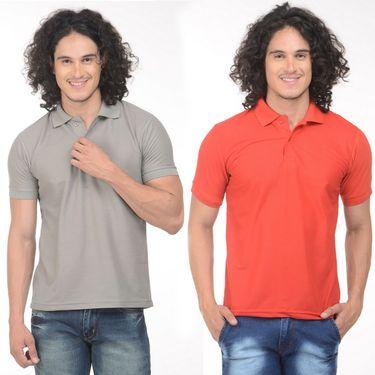 Pack of 2 Plain Regular Fit Tshirts_Ptgdmudr - Grey & Red