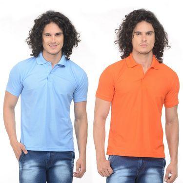 Pack of 2 Plain Regular Fit Tshirts_Ptgdsbo - Sky Blue & Orange