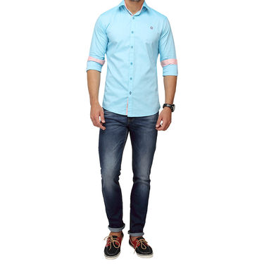 Crosscreek 100% Cotton Shirt For Men_1080310f - Aqua