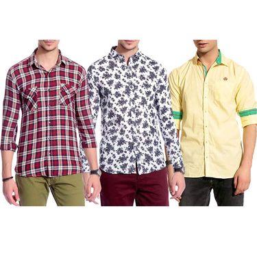 Pack of 3 Good Karma Cotton Premium Designer Shirts_Gkc006 - Mulitcolor